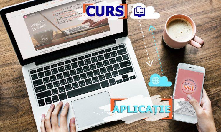 persoana la laptop, tine in mana un telefon mobil, in dreapta sus este o cana de cafea, baner peste poza, logo pe telefon.