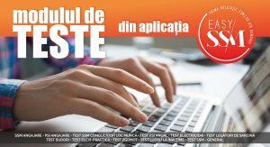 persoana care scrie la laptop, desupra banner de culoare portocaliu si test modulul de teste din aplicatie, jos banner din text alb