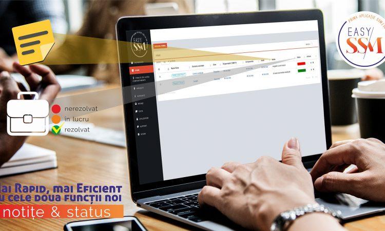 control asupra firmei, persoana la calculator, pe desktop se vede aplicatia cu notite si status. Logo EasySSM in partea dreapta sus, text peste imagine.